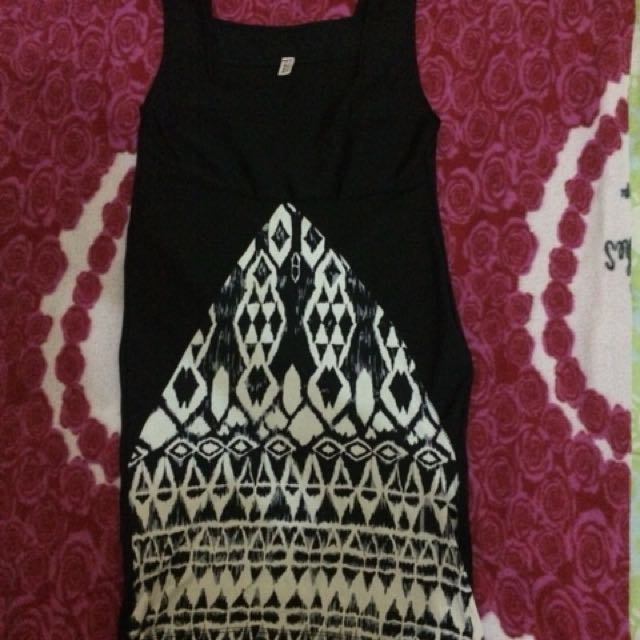 Midi Dress black white