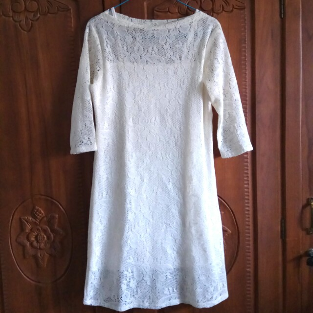 Mini Dress Broken White Brokat