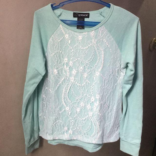 100f9a206f Mint Green Lace Sweater (Preloved)