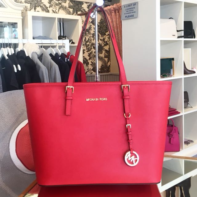 MK Michael Kors red leather bag