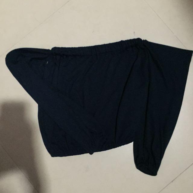 Navy Blue Off-Shoulder