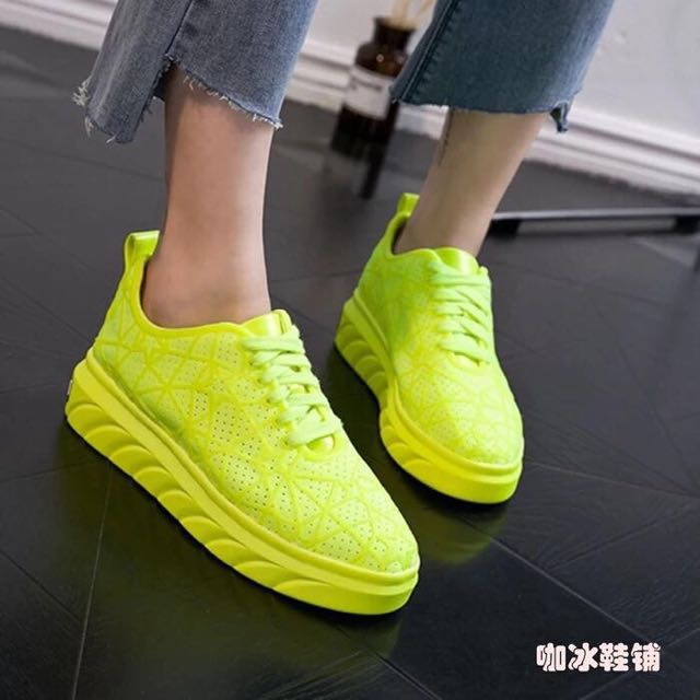 Neon Green Sneakers Rubber Shoes size 36 37 38