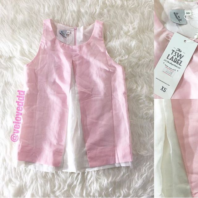 New the stage walk pink white layer top