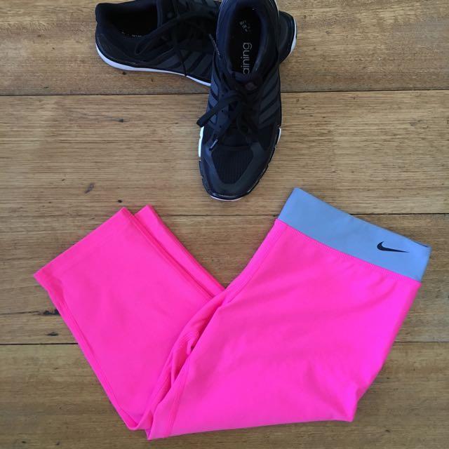 Nike dri fit gym pants 3/4 Fluor pink yoga walking running