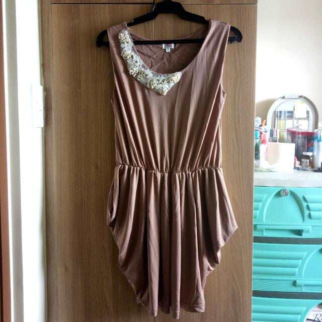 Nude Cocktail Dress with sequenced design