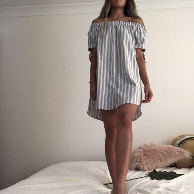 Over-the-shoulder striped dress