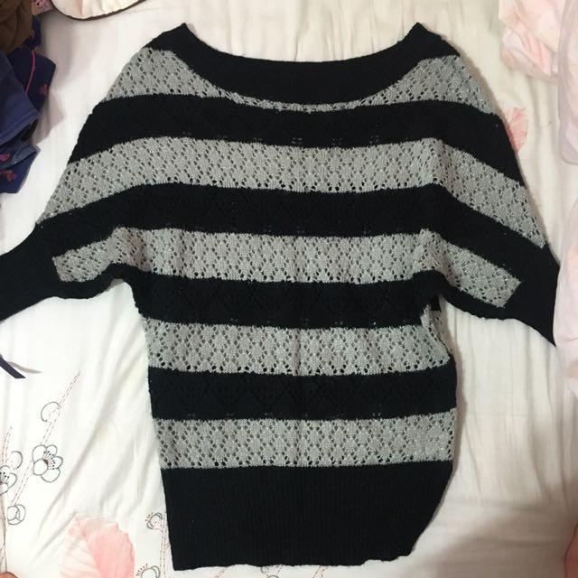 OZOC~條紋金蔥針織毛衣