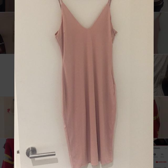 Pink/Nude bodycon midi dress Princess Polly