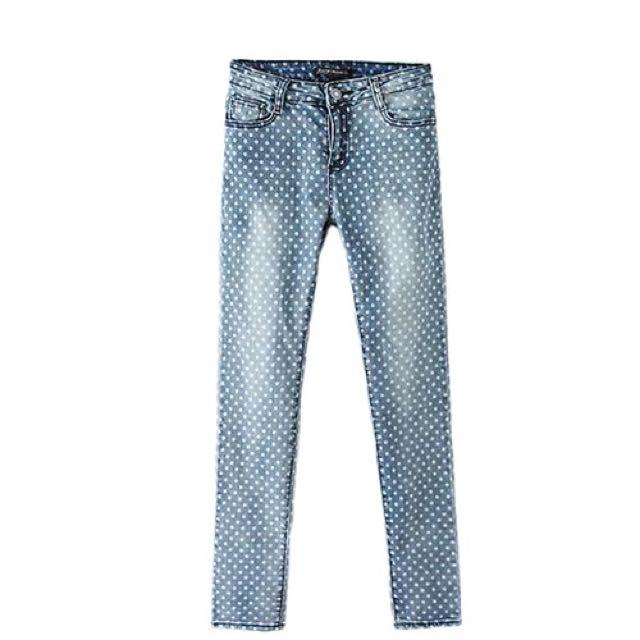 Polka dot light blue wash jeans