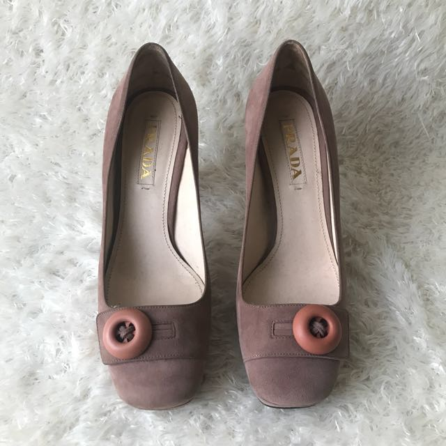 Prada Runway Pink Velour Sculptural Heel Button Pumps 38