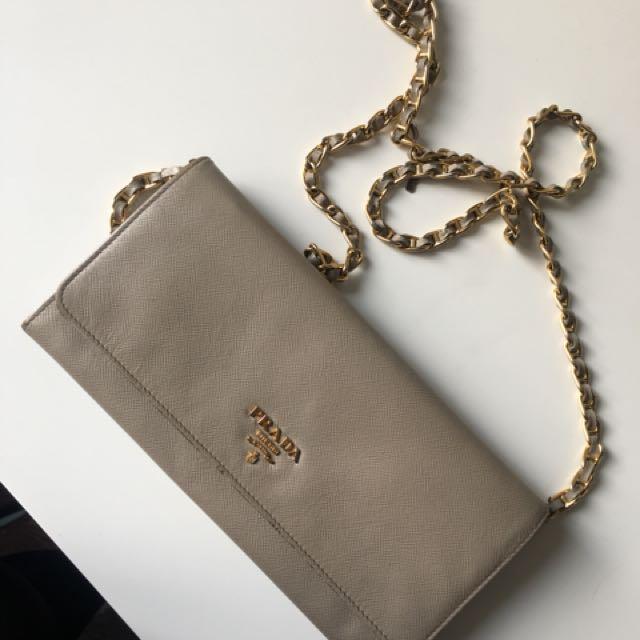 Prada Saffiano Wallet on a chain