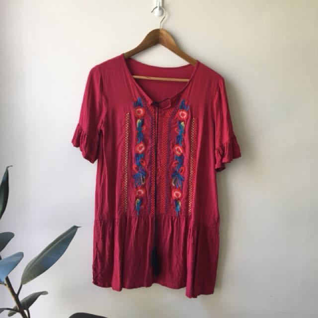Red embroidered sun dress