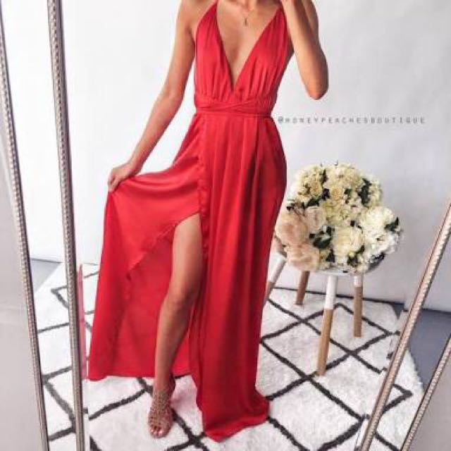 RED silky long dress