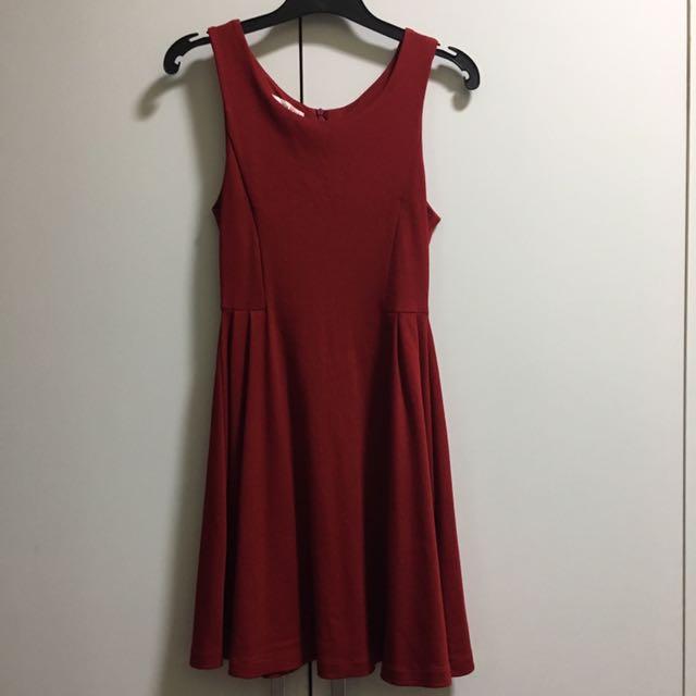 Red skater work dress