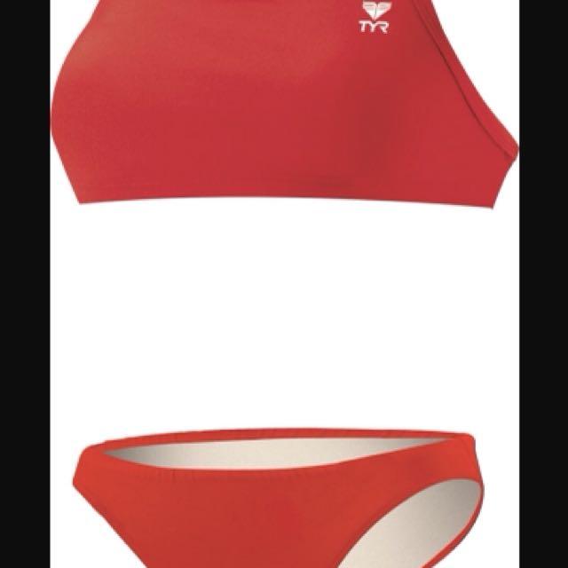 Red TYR workout bikini