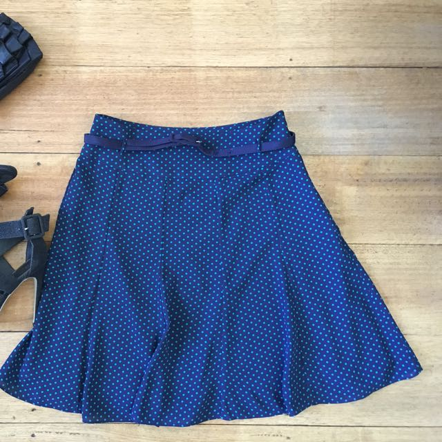 Review polka dot skirt size 8 blue aqua