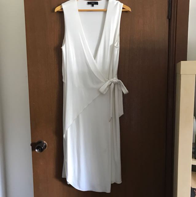 Saba Silk White Wrap tie Up tea dress size 10