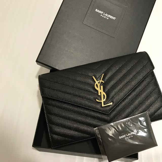 adc126af6b Saint Laurent Monogram Chain Wallet In Black BNWT, Women's Fashion ...