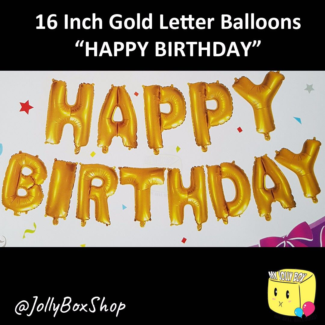 Set Of Gold Happy Birthday Balloons For Sale Flat Packaging 13