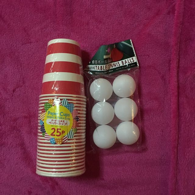 Set of Pingpong balls&paper cups for Beer pong