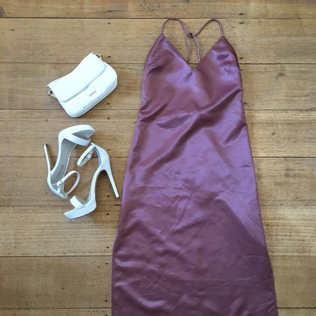 Shakuhachi cocktail ball gown dress blush pink UK size 6