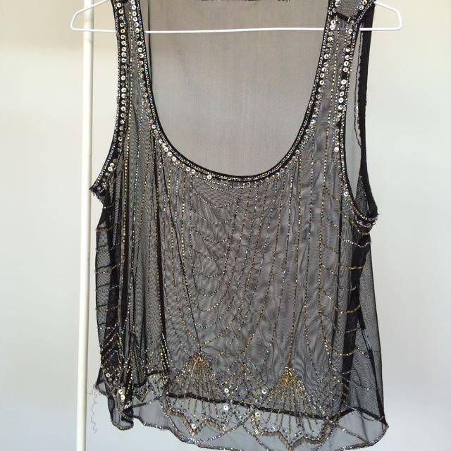 Sheer Black Beaded Top - 1920s Vintage Style