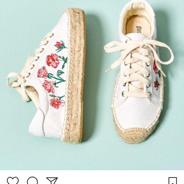 Soludos rose platform sneaker 玫瑰刺繡厚底鞋