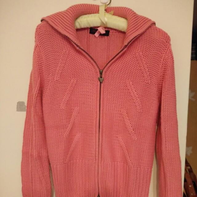 Something 粉色針織外套