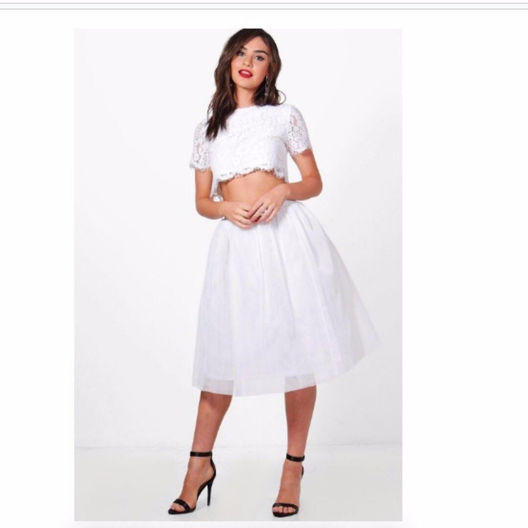 Sophia Woven Lace Top & Contrast Midi Skirt Co-Ord