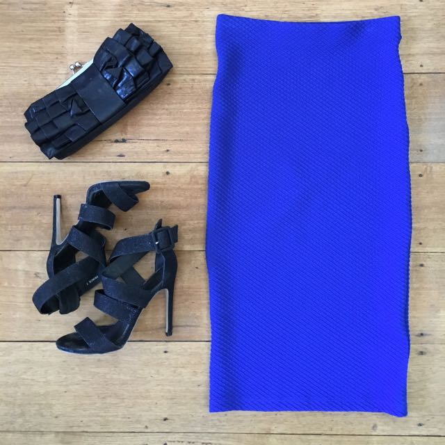 Sportsgirl midi skirt electric blue XXS textured