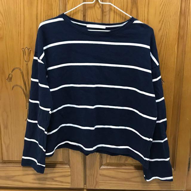 (正韓)深藍色條紋長袖T恤