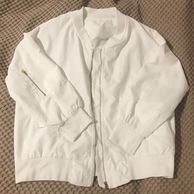 Thin White Bomber Jacket
