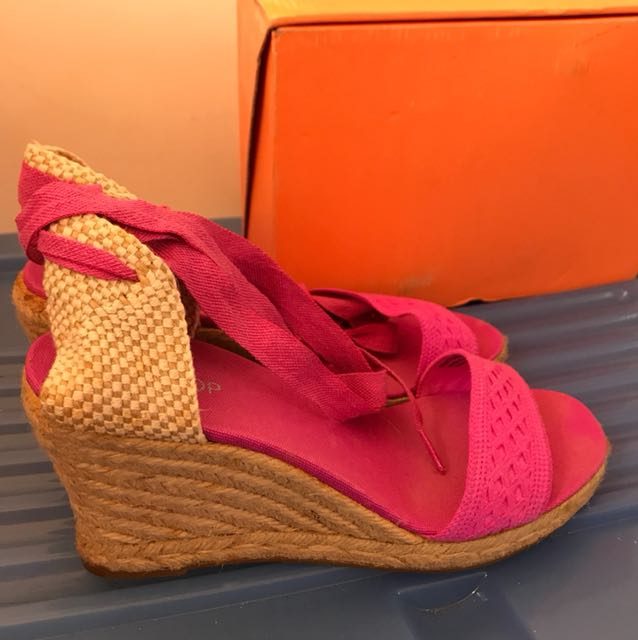 Top Shop pink wedges with strings size 41