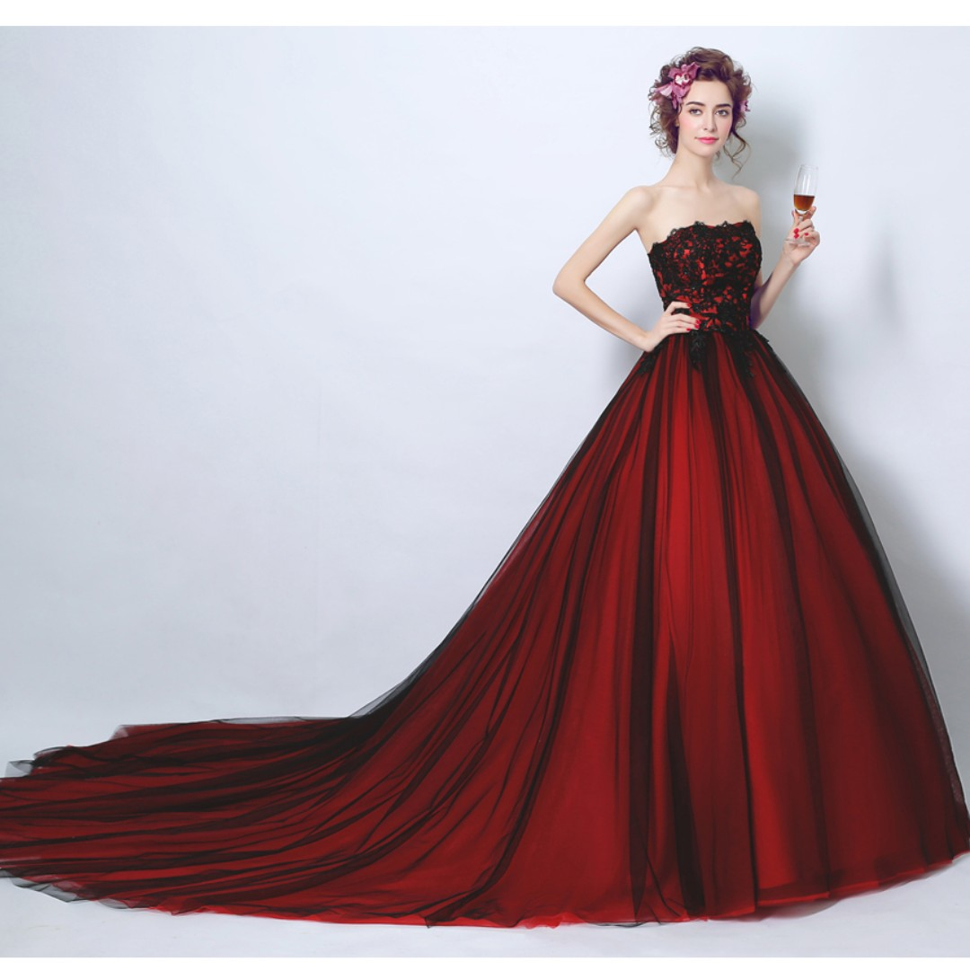 Tube top Dual tone wine red wedding gown evening dress Womens
