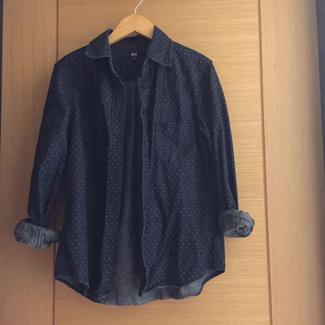 Uniqlo 棉100% 點點深藍色 襯衫(女)