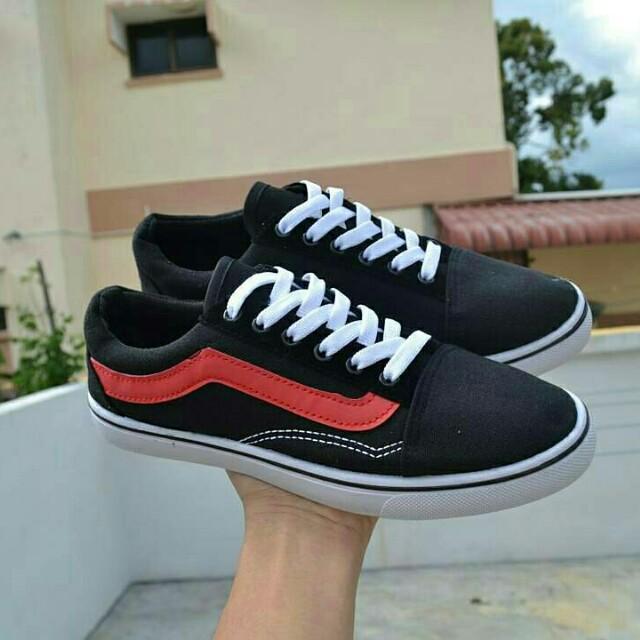 d92539df36160f Vans Oldskool Black Red Line 1 Stripe