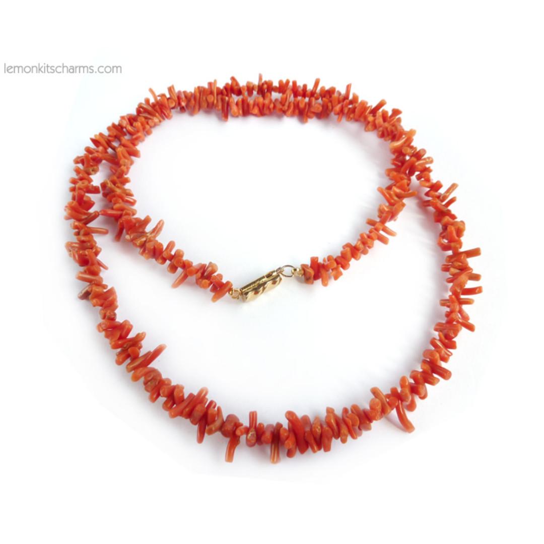 Vintage Genuine Coral Branch Gemstone Necklace, nk1055-c