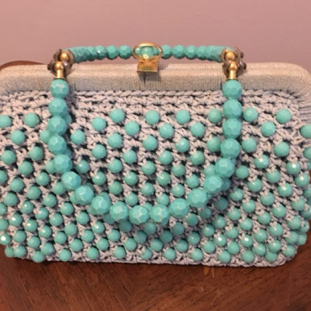 Vintage turquoise purse + coin purse