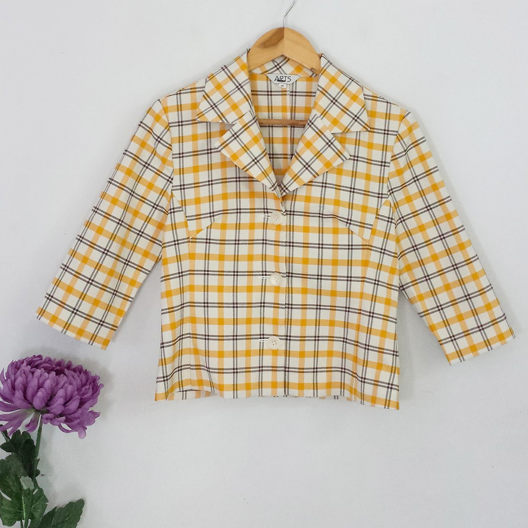 [RESERVED] Vintage Yellow Plaid Cropped Topper Jacket