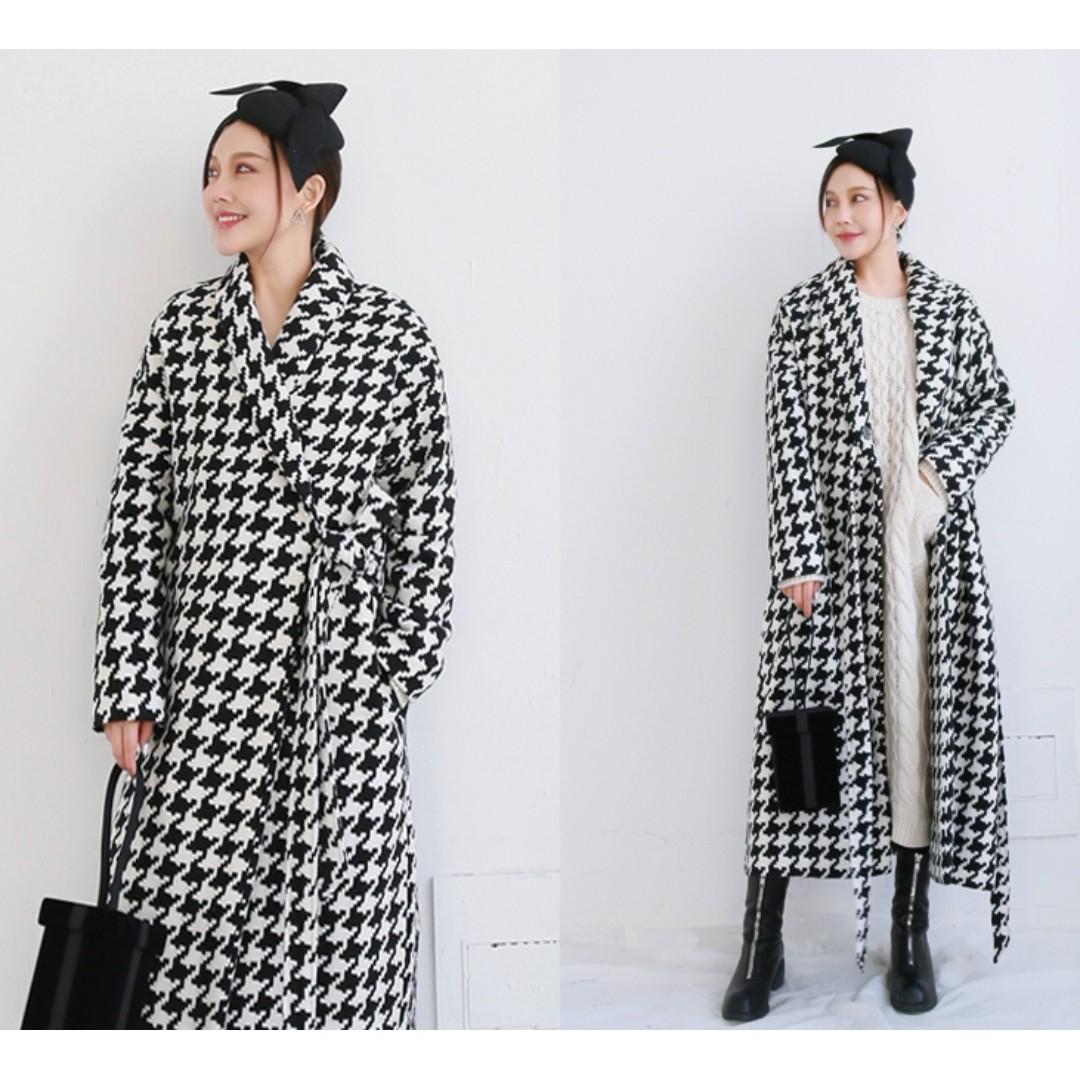 VM 冬季 法式複古 黑白千鳥格浴袍綁帶風 羊毛呢 寬鬆長版大衣