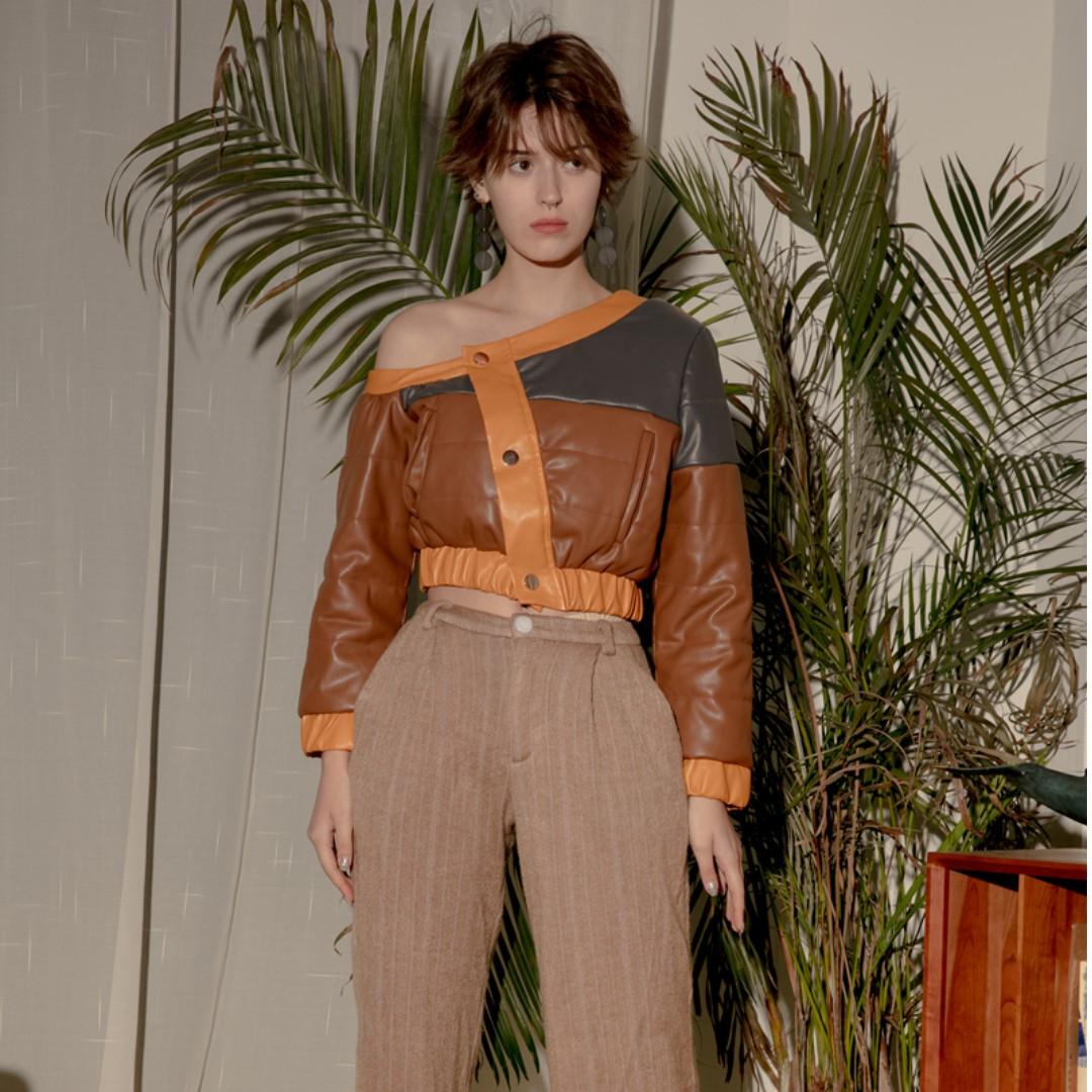 VM 獨立設計師款* 凹造型 小眾 多色拼接色塊 斜肩短款PU皮衣 外套