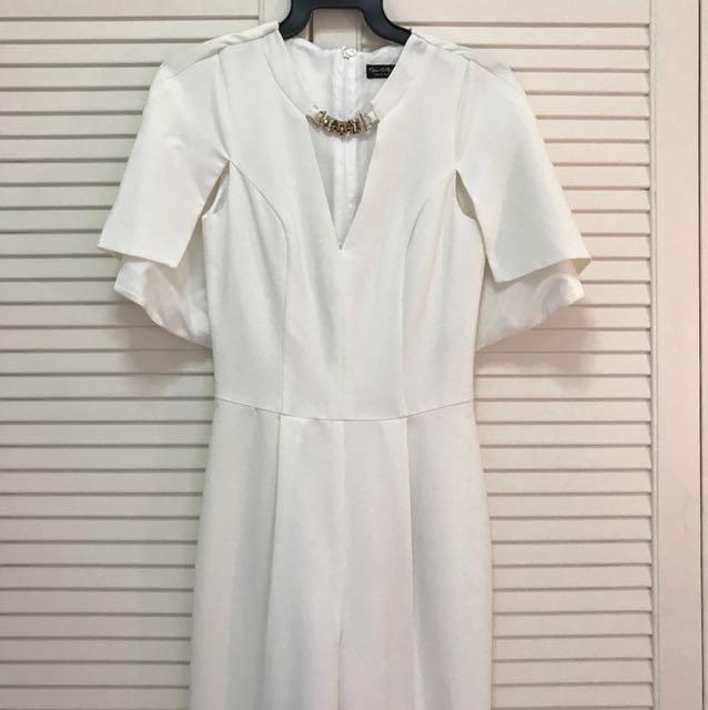White cape jumpsuit pantsuit