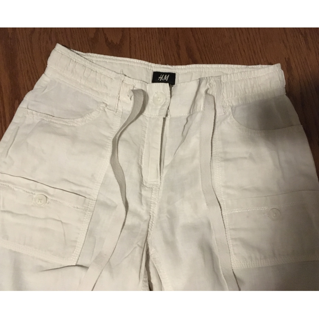 white cargo pants from h&m, size M