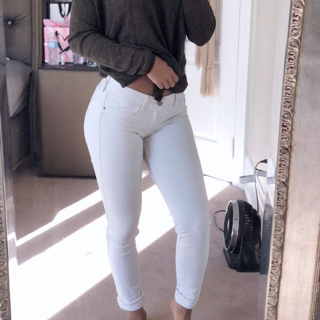 White Low-Rise Jeans