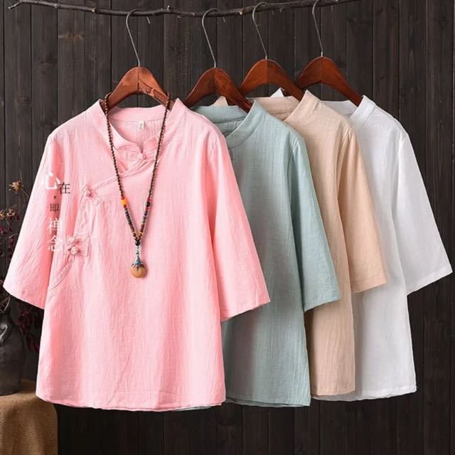 Women Oriental Linen Blouse Top