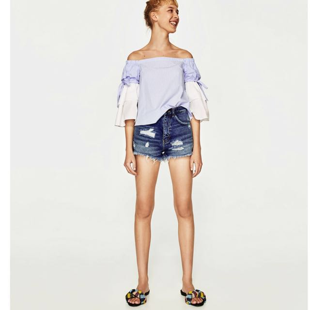 5ab3ad95 Zara TRF denim high-waisted shorts size EU 34 (US 26, Women's ...