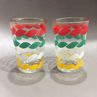 Pair of colorful vintage glass