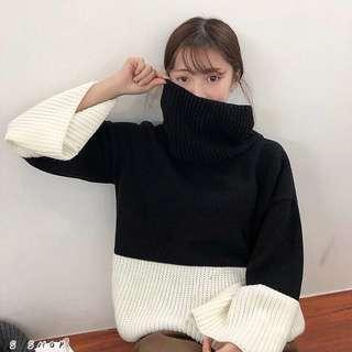 🔹 高領拼接開衩寬袖針織毛衣