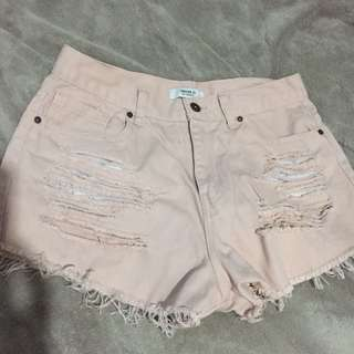 F21 Pastel Pink Ripped High Waisted Shorts