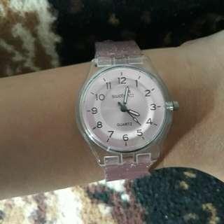jam tangan Swatch Pink Gliter